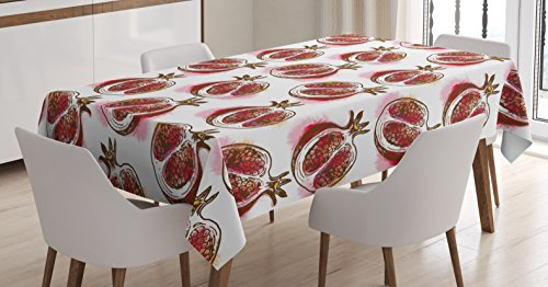 (Ambesonne Fruits Tablecloth, Pomegranate Flowering Blurry Watercolor Mediterranean Taste Shrub Image, Dining Room Kitchen Rectangular Table Cover, 52 W X 70 L Inches, Fuchsia)