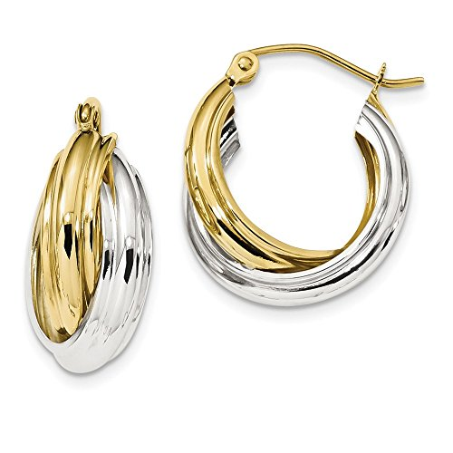 10k Yellow and White Gold Two-tone Polished Double Hoop Earrings Length 20.81mm ()