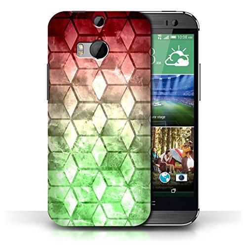 Etui / Coque pour HTC One/1 M8 / Rouge / Vert conception / Collection de Cubes colorés