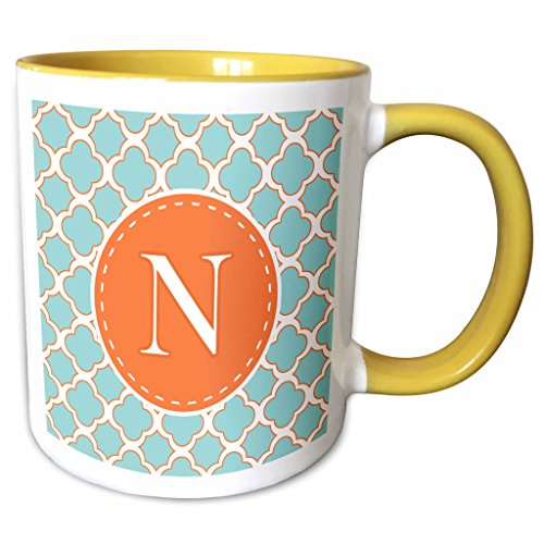 3dRose Janna Salak Designs Monogram Collection - Letter N Monogram Orange and Blue Quatrefoil Pattern - 11oz Two-Tone Yellow Mug (Quatrefoil Collection)
