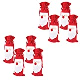 ZIOOER Pack of 8 Christmas Wine Gift Bags - Drawstring Red Wine Bottle Cover Bags for Christmas Day