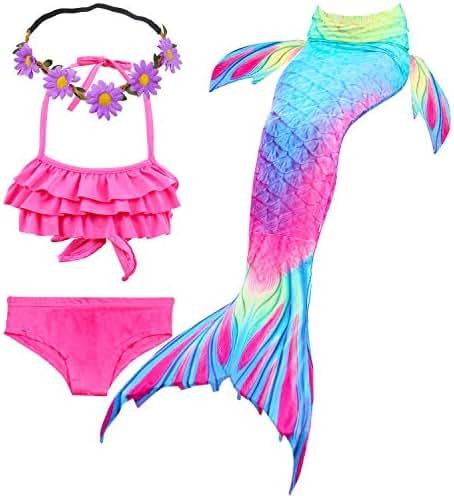 GALLDEALS 3pcs Swimmable Mermaid Tail Kids Girls Princess Bikini Set Swimsuit Swimwear, 3-12Years