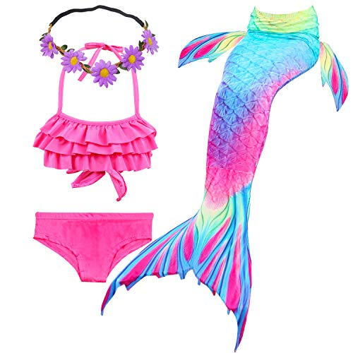 GALLDEALS 3pcs Swimmable Mermaid Tail Kids Girls Princess Bikini Set Swimsuit Swimwear, 3-12Years (9-10 Years, Zipper Opens Lotus Red + Blue)]()