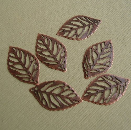 BeadsTreasure 20 Leaf Charm Pendant Connector Hollow Cut Antiqued Copper Jewelry Making Finding - Leaf Charms Beads