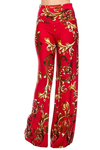 Uptown Women's Palazzo Pants (Small, Red)