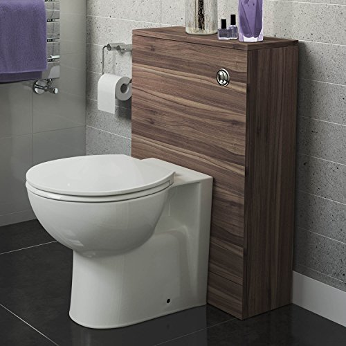 500 x 215 mm Walnut Back To Wall Toilet Slim Concealed Cistern Unit Bathroom Furniture iBathUK