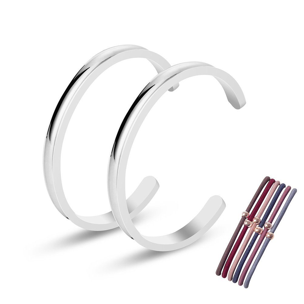 Kucheed Premium Stainless Steel High Polished Grooved Cuff Bangle Bracelet for Women Girls (2PC Silver)