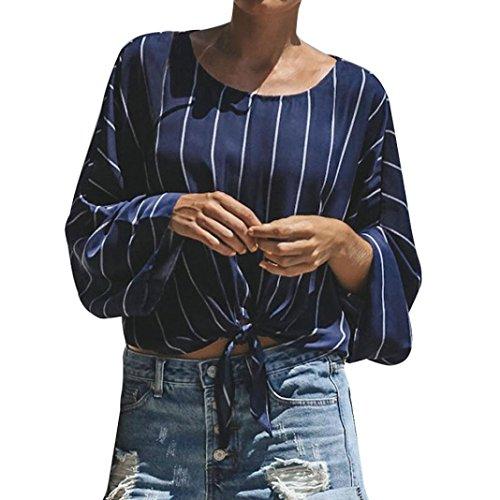 iQKA Women Dolman Long Sleeve O-Neck Shirt Stripe Front Bowtie Casual Blouse Crop ()