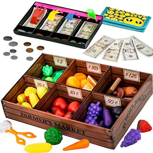 :Play Food Toys set for kids Farmer's Market Color Sorting set (132 pcs) by Jogo Jogo - Pretend food toys for toddlers with toy cash register for kids with pretend play money for kids toy food set