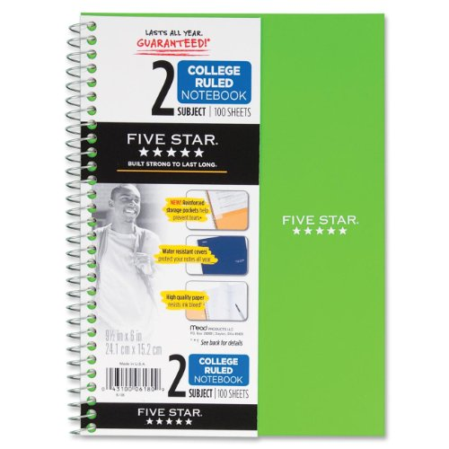 043100061809 - Five Star Spiral Notebook, College Ruled, 2 Subject, 6 x 9.5 Inches, 100 Sheets, Assorted Colors (06180) carousel main 0