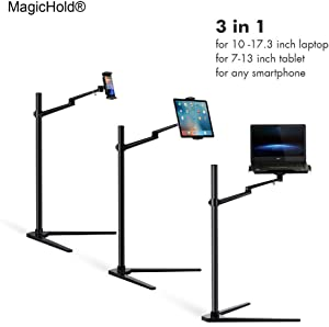 MagicHold 3 in 1 360º Rotating Height Adjusting Laptop Stand/Compatible with IPAD IPAD PRO/Tablet Bed Floor Stand for Laptop(13-15.6 inch) (Black)