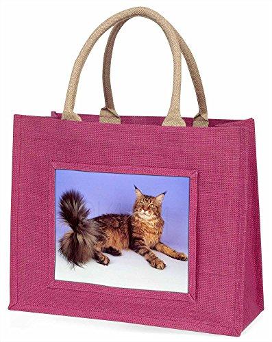Advanta gestromt Maine Coon Katze Große Einkaufstasche Weihnachten Geschenk Idee, Jute, Rosa, 42x 34,5x 2cm