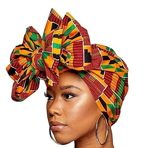 Ankara Headwrap and Scarf Dashiki African Print Kente (Black, gold, green and red) ()