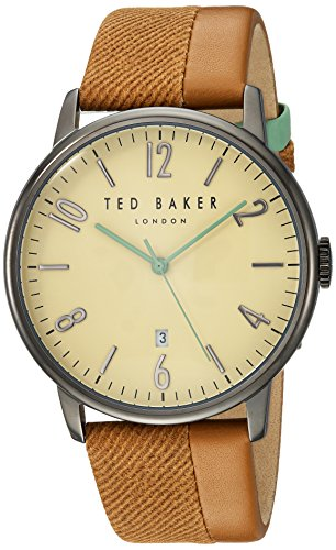 Ted Baker Round Dial (Ted Baker Men's 'DANIEL' Quartz Stainless Steel and Leather Dress Watch, Color:Brown (Model: 10031573))