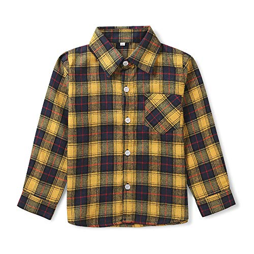 OCHENTA Big Boys' Button Down Flannel Plaid Shirt, Kids Long Sleeve Tops E010 Yellow Navy Tag 160CM - 9-10 Years