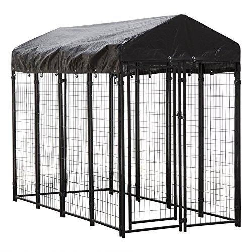 Houseables Dog Kennel, Large Dog Crate, 8 x 4 x 6 ft, Metal, Welded, Pet Cage, Heavy Duty Playpen, Outdoor/Outside Dogs House, Animal Runs, Yard Wire Fence, Create for Dogs, Big Play Pen with Cover