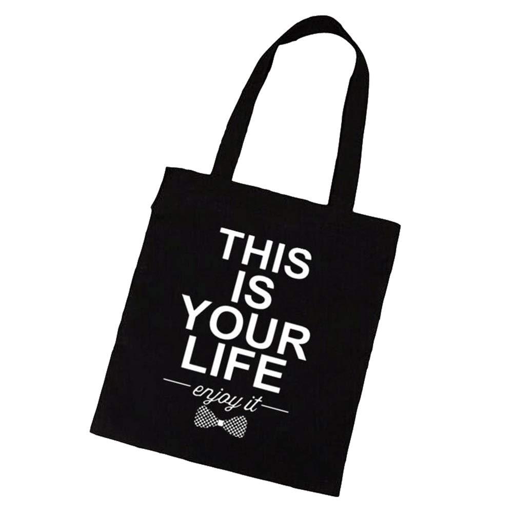 Canvas Shoulder Bag Multipurpose Slogan Printed Large-Capacity Canvas Tote Shoulder Bag Handbag with Bow