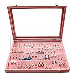 WuligirlVelvet ClearLid Earrings Trays Holder OrganizerDisplay JewelryShowcaseStorage32PairsEarringLockable forWomen(Peach EarringsBox)