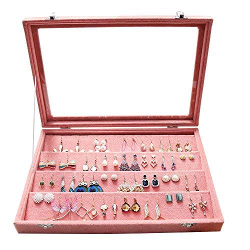 Pierced Earring Holders - Wuligirl Velvet Clear Lid Earring Organizer Storage Earrings Box Holder Case for Jewelry Display Showcase Stackable Lockable(Peach Earring)