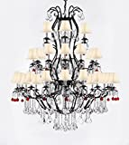 Large Wrought Iron Chandelier Chandeliers Lighting With Ruby Red Crystal Balls! H60'' x W52'' - Great for the Entryway, Foyer, Family Room, Living Room! w/White Shades