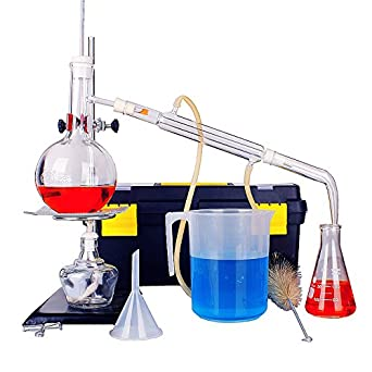 5pcs New 500ML Lab Essential Oil Distillation Apparatus Glass Distillation Apparatus Chemistry Glassware Set with Condenser Flask for Home Industrial Science Teaching