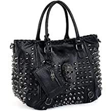 UTO Women Skull Tote Bag Rivet Studded Handbag PU Leather Purse Shoulder Bags 2 Pcs Wallet Strap