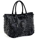 UTO Women Skull Tote Bag Rivet Studded Handbag PU Leather Purse Shoulder Bags 2 Pcs Wallet Strap A Black 382