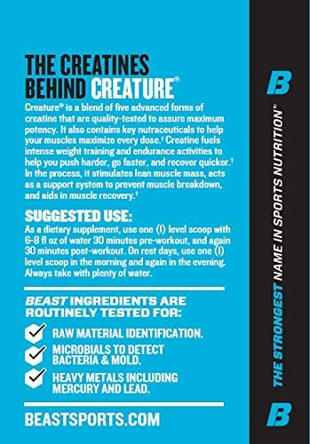 Beast Sports Nutrition Creature Creatine Complex Fuel Muscle Growth Optimize Muscle Strength Enhance Endurance Increase Recovery Time Five Forms of Creatine Pink Lemonade 60 Servings
