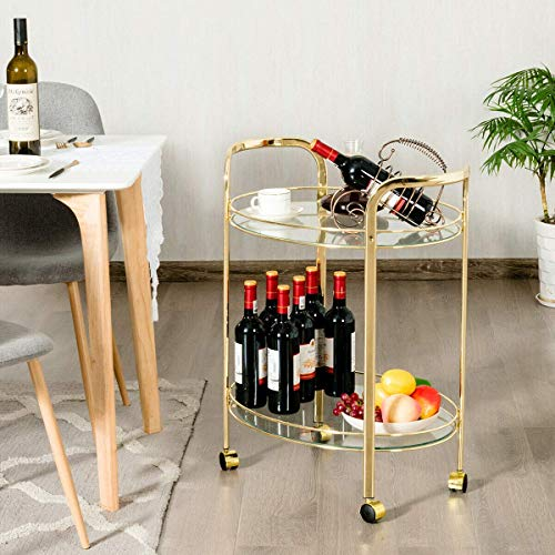 Tangkula Bar and Serving Cart, 2-Tier Glass Round Rolling Bar Cart with 2 Tempered Glass Shelves and 4 Universal Wheels (Gold) (Round Glass Cart Bar)