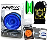 Henrys LIZARD YoYo (BLUE) Professional Entry-Level YoYo +Instructional Booklet of Tricks, 6x EXTRA STRINGS +Travel Bag! Pro YoYos For Kids and Adults!