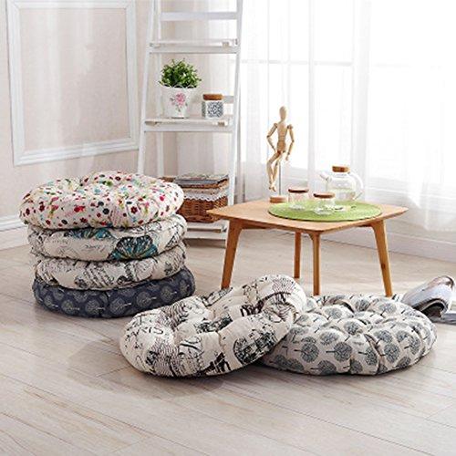 TMJJ Cotton & Linen Round Floor Pillow Cushion Japanese Style Futon Seat Cushion Thicken Chair Wave Window Pad 21'' x 21'',Set of 2 (Dark Happy Tree) by TMJJ Home (Image #7)