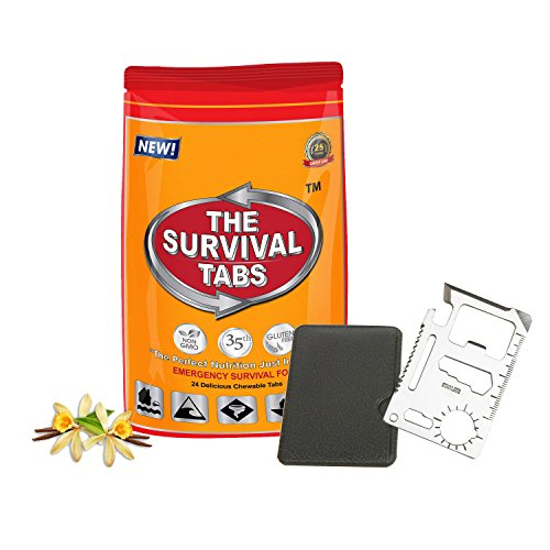 11 in1 Multi Tools Hunting Survival Camping Pocket Military Credit Card Knife + Boating - Aircraft - Outdoor Adventurers Emergency Survival Meal 2-Day supply 24 tabs Ultimate Bugout Food 25 Years shelf life Gluten Free and Non-GMO - Vanilla Flavor