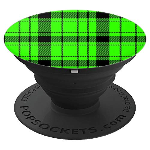 Nuclear Alien Green Prep School Punk Plaid Pattern Popsocket - PopSockets Grip and Stand for Phones and Tablets ()