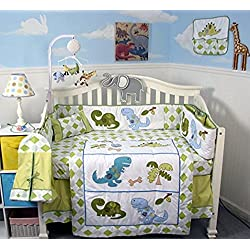 SoHo Dinosaur Story Baby Boy's Crib Bedding Set Including Diaper Bag and Baby Carrier