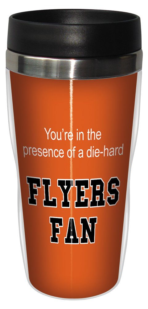 Tree-Free Greetings sg24189 Flyers Hockey Fan Sip 'N Go Stainless Steel Lined Travel Tumbler, 16-Ounce Tree Free