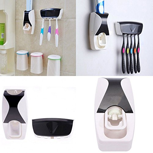 [New Automatic Toothpaste Dispenser + 5 Toothbrush Holder Set Wall Mount Stand Hygiene and convenient] (Tv Commercial Costumes Halloween)
