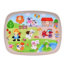 Large Size Farm Animals Wooden Pegged Puzzles, Educational Learning Preschool Toys game for Kids, Best Birthday Gift for Age 3 4 5 years old kids Children Baby Toddles Boys Girls