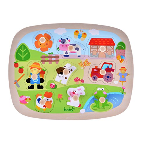 rolimate Large Size Farm Animals Wooden Pegged Puzzles, Educational Learning Preschool Activity Toys game for Kids, Best Birthday Gift for Age 3 4 5 years old kids Children Baby Toddles Boys Girls