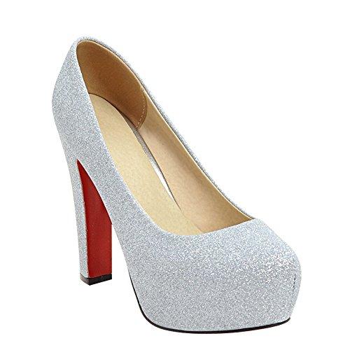 Latasa Womens Platform High Heels Dress Pumps Silver HR6qk