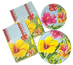 Hawaiian Paper Plates and Napkins Luau Hibiscus Bundle of 3 Service for 16  sc 1 st  Amazon.com : hawaiian paper plates - pezcame.com