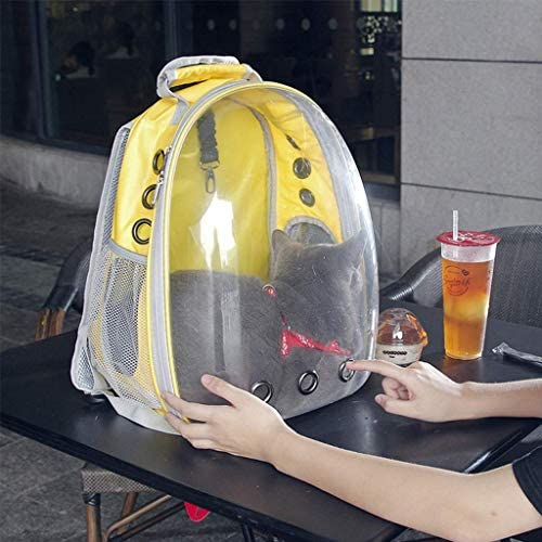 YUMUO Jaune Chat Sac Pet Bag Out Mallette de Transport Space Capsules Net Package Transparent Red Panoramic Package Dog Bag Pet Backpack