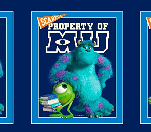 """100% Cotton Print Fabric Monster INC University Mike and Sully Panel 45"""" Wide Sold Per Piece"""