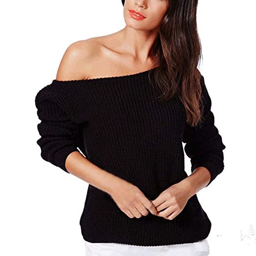 Teresamoon Women Loose Long Sleeve Fall Winter Off Shoulder Sweater Solid Shirt Top