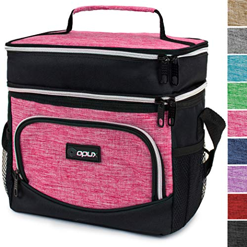 OPUX Insulated Dual Compartment Lunch Bag, Double Deck Lunch Box for Women   Soft Leakproof Lunch Tote Cooler for Work, Office, School   Medium Reusable Lunch Pail, Fits 8 Cans (Heather Pink)