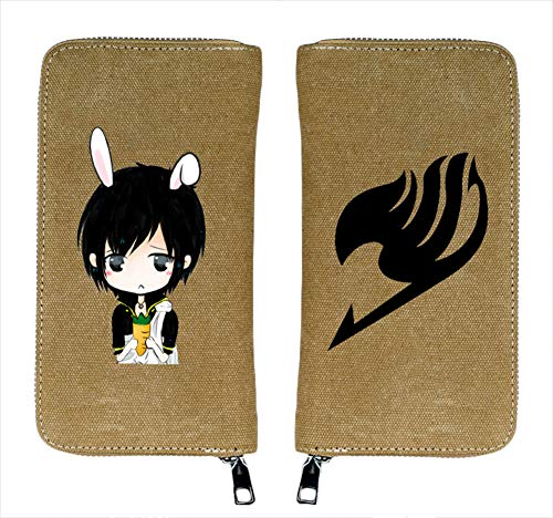 Gumstyle Fairy Tail Anime Canvas Wallet Long Zipper Clutch Purse Card Holder Khaki 1