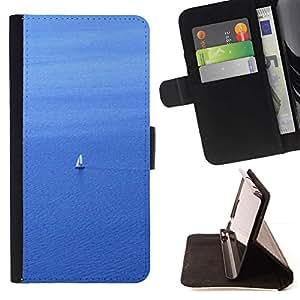 For Sony Xperia Z2 D6502 Case , Vela Velero marinero de agua de mar del océano Vela- la tarjeta de Crédito Slots PU Funda de cuero Monedero caso cubierta de piel