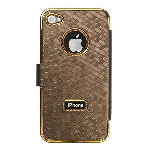 niceEshop Brown Wallet Style Carbon Fiber Print Synthetic Leather Case Cover for iPhone 4 4S
