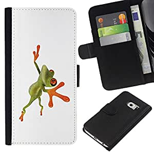 All Phone Most Case / Oferta Especial Cáscara Funda de cuero Monedero Cubierta de proteccion Caso / Wallet Case for Samsung Galaxy S6 EDGE // Orange Jungle Frog