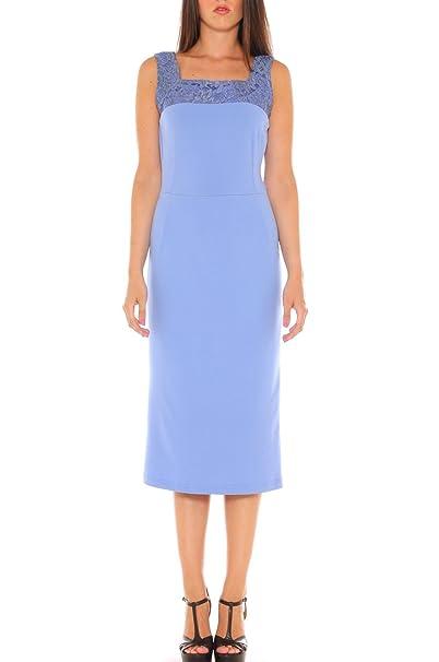 f05d3cd98720 Mia Vestito a Tubino Elegante in Jersey con Inserto in Pizzo  Amazon.it   Abbigliamento