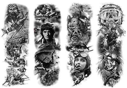 DaLin 4 Sheets Extra Large Temporary Tattoos, Full Arm (Military Tattoos Set)